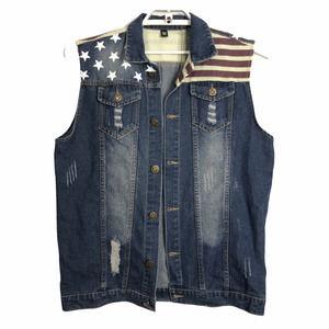 WantDo  XL* American Flag Stars/Stripes Jean Vest